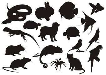 Pets silhouette vector set
