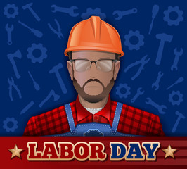 Poster for Labor Day with bearded man in a helmet, goggles and working clothes