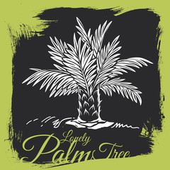Squat Hand-drawn Palm Tree on Grunge Background