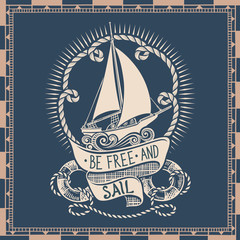 Retro Drawing of Sailing Vessel with Sign and Nautical Frame