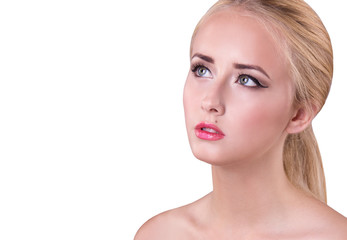 Beauty Woman face Portrait. Beautiful model Girl with Perfect Fresh Skin. Portrait of beauty young blond girl with pink lips. Copy space. isolated on white