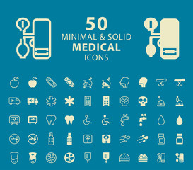 Set of 50 Medical Minimal and Solid Icons. Vector Isolated Elements.