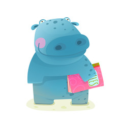 Hippopotamus Kid with Book Study Reading