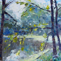 """Oil-painting picture """"In the park near the lake after the rain""""."""