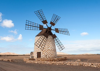 Round stone windmill near Tefia on Fuerteventura, Canary Islands, Spain