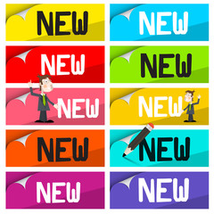 New Labels Set. Colorful Stickers with New Title and Businessmen Isolated on White Background.