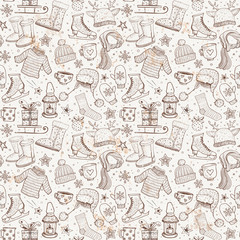 Seamless pattern with winter elements. Warm clothes, uggs, sleigh, candles, stars and other objects. Can be used for wallpaper, pattern fills, textile, web page background.