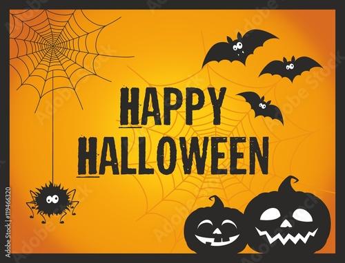 fun and cute cartoon halloween post card with pumpkins spider bats
