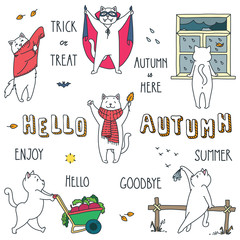 Hello autumn. Doodle vector illustrations of funny white cat enjoying the autunm