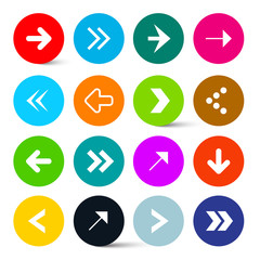 Arrows Set in Colorful Circles Vector. Perfect for Web Design or Application Icons.