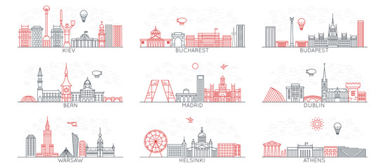 line vector city icons. Eastern Europe set