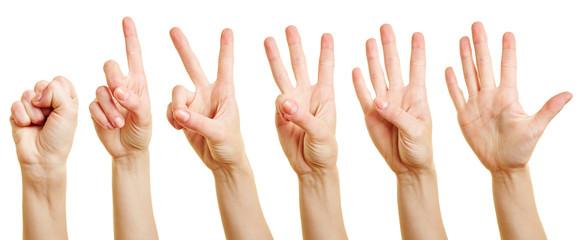 Finger zählen von Null bis Fünf