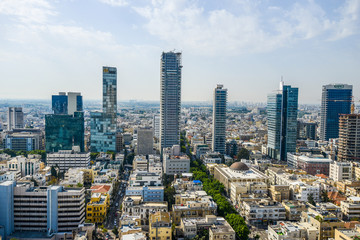 Panoramic view on roofs of  Tel-Aviv on the modern buildings bac