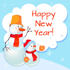 Funny snowman. Greeting card. New Year. Christmas background for text. Snowflakes.