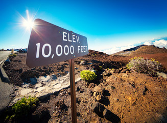 Elevation Sign at the Summit of Haleakala, Maui