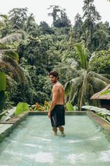 Young man at holiday resort