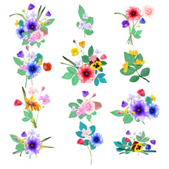 Vector floral set. Colorful  collection with flowers. Desi