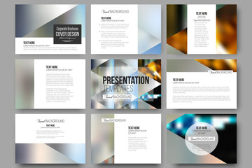 Set of 9 templates for presentation slides. Abstract multicolored background, blurred nature landscapes, geometric vector, triangular style illustration