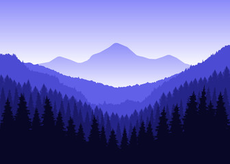 Panorama of mountains. Winter. Blue tones.