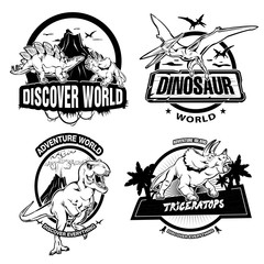 Dinosaurs Black White Emblems