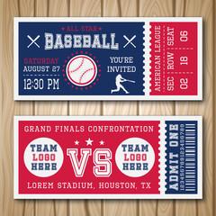 Baseball Blue Red Tickets