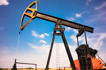 Industrial pump jack at oil and gas field
