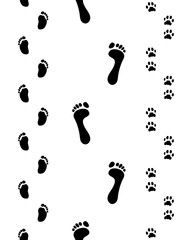 Footprints of man, child and dog, seamless vector