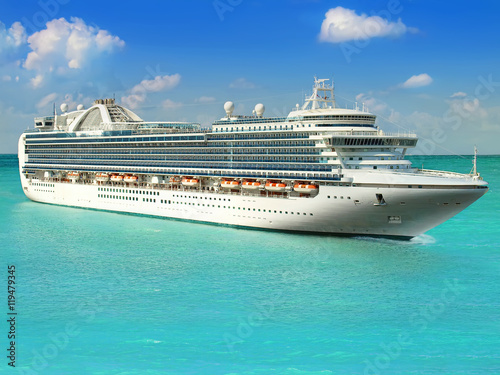Luxury cruise ship sailing from port stock photo and for High end cruise ships