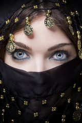 arab woman showing only her eyes