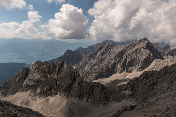 Karwendel mountains seen from Lampsenspitze in the mountains of Tyrol