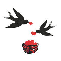 Vector Illustration with couple of swallows with red hearts and nest. Cute and romantic valentines day greeting card