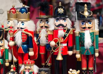 Christmas market decoration - wooden Nutcracker toys.