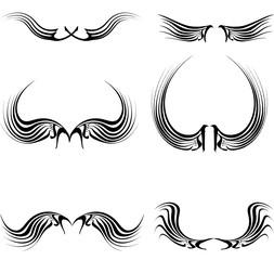 tattoo black  wings set in vector format very easy to edit