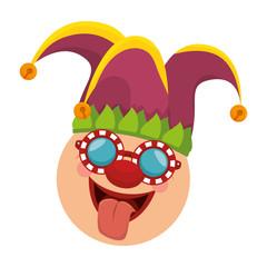 joker clown funny face mask sticking tongue carnival costume cartoon vector illustration