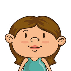 girl smiling happy child kid face cartoon vector illustration