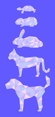 Low poly pets in pink and blue colors.