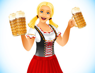 Oktoberfest Girl holden glass of beer with foamy lager. Waitress in traditional bavarian german clothes dirndl on Beer festival Oktoberfest. Blonde smiling open-mouthed. Vector illustration character