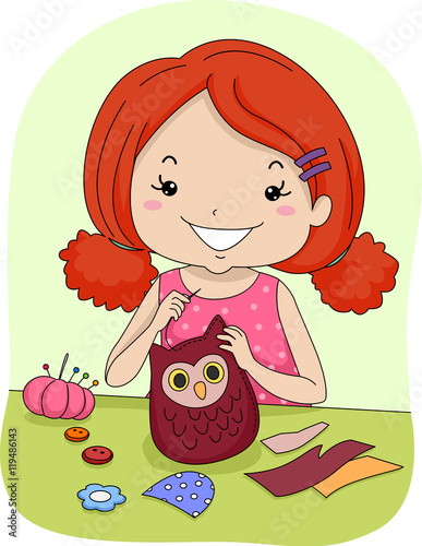 Kid Girl Sew Owl Pattern\
