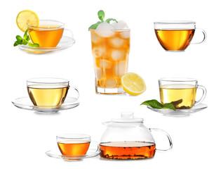 Delicious tea collage on white background.