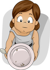 Kid Girl Food Shortage Empty Plate