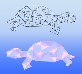 Low poly turtle vector illustration. Two polygonal turtle silhouettes