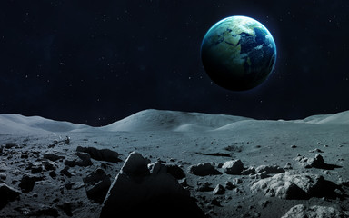 Wall Mural - View of Earth from moon. Elements of this image furnished by NASA