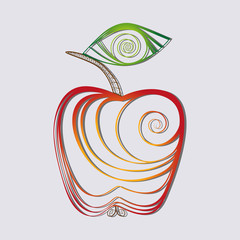 Apple illustration. Icon in the form of an Apple