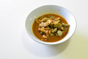 Red Curry with Pork and Eggplant, Thai Food