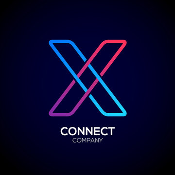 Letter X Logo Design.Linked shape square symbol,Digital