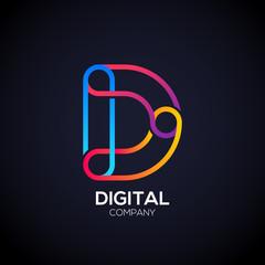 Letter D Logo Design.Linked shape circle symbol,Digital
