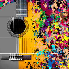 acoustic, classical guitar on splashing vibrant & colorful background. concept = music is unlimited...