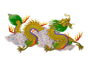 Colorful of  painting dragon chinese style