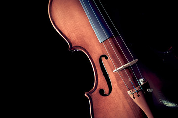 violin & beautiful rim light showing beautiful classic shape. isolated on black
