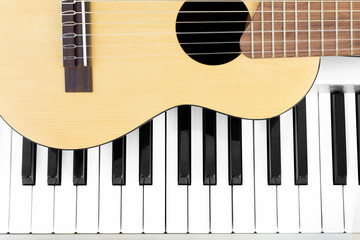 acoustic guitar & piano keys